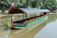 CHIANG MAI, THAILAND - FEBRUARY 18: river boat cruise for rent waiting for tourists to experience the atmosphere of the Ping River. In Chiang Mai. It is a Royalty Free Stock Image