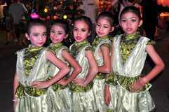 Chiang Mai, Thailand: Five Thai Girl Dancers Royalty Free Stock Photography