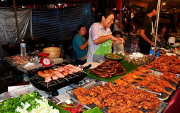 Chiang Mai, Thailand: Food Seller at Festival. A dazzling display of delicious Thai delicacies sold by a food vendor at the annual Tha Phae Square New Year's Royalty Free Stock Photos