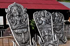 Chiang Mai, Thailand: Hand-crafted Tin Buddha Panels Royalty Free Stock Images