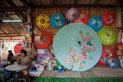 Chiang Mai, Thailand handmade umbrella making process Royalty Free Stock Photos