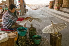 Chiang Mai, Thailand handmade umbrella making process Stock Image