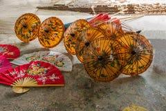 Chiang Mai, Thailand handmade umbrella making process Stock Photo