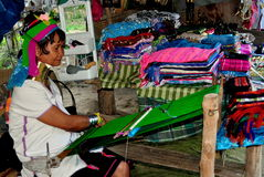 Chiang Mai, Thailand: Hill Tribe Woman at Loom Stock Photo