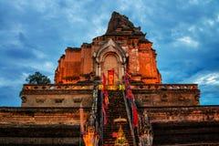 Chiang Mai, Thailand. Illuminated Chedi Luang Pagoda at Wat Chedi Luang Temple Stock Image