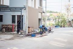 Chiang Mai Thailand - Januari 18: konstruktionsområde i Chiang mor Arkivfoto
