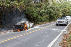 CHIANG MAI, THAILAND - JANUARY 1 : Car fire due to a gas explosi Stock Photo