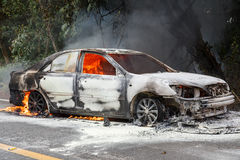 CHIANG MAI, THAILAND - JANUARY 1 : Car fire due to a gas explosi Royalty Free Stock Photo