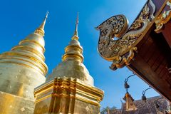 Golden pagoda at Wat Prasing temple in Chiang Mai, Thailand. royalty free stock image