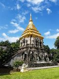 A temple in Chiang Mai. Chiang Mai, Thailand - July 31, 2017: a sacred temple in Chiang mai in a sunny day royalty free stock images