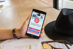 CHIANG MAI,THAILAND - JULY 17,2016 : LG G4 with social Internet. Service Pinterest on the screen. Pinterest is an online pinboard that allows people to pin Royalty Free Stock Image