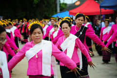CHIANG-MAI, THAILAND - JULY 3: Thailand Festival for donating money to the temple for publishing Buddhism. The women dance to worship on July 03, 2017 at Royalty Free Stock Photography