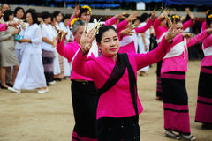 CHIANG-MAI, THAILAND - JULY 3: Thailand Festival for donating money to the temple for publishing Buddhism. The women dance to worship on July 03, 2017 at Stock Images
