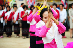 CHIANG-MAI, THAILAND - JULY 3: Thailand Festival for donating money to the temple for publishing Buddhism. The women dance to worship on July 03, 2017 at Royalty Free Stock Image