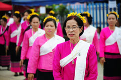 CHIANG-MAI, THAILAND - JULY 3: Thailand Festival for donating money to the temple for publishing Buddhism. The women dance to worship on July 03, 2017 at Stock Photography
