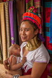 Chiang Mai, Thailand Long-necked tribe village. Consists of a minority Karon tribe in northern Thailand and Burma border (Karen) is a Padang (Padaung) family stock image