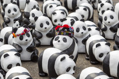 CHIANG MAI,THAILAND March 19, 2016 : Pandas World Tour by WWF ex. Hibition of the 1,600 paper mache pandas during a flash mob  world tour made by French artist Stock Photo