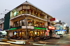 Starbucks coffee building at Ta-Phae gate on March 29, 2013 in Chiang Mai, Thailand Royalty Free Stock Images