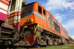 Alsthom locomotive no.4121. CHIANG MAI, THAILAND - MAY 15 2013: Alsthom locomotive no.4121 at chiangmai railway station, thailand Royalty Free Stock Photography