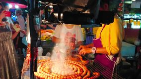Grilled ball sausages in Night Market, Chiang Mai, Thailand