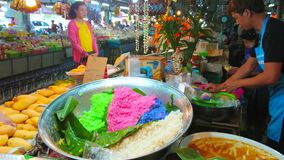 Colored sticky rice in Gate Market, Chiang Mai, Thailand
