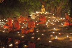 CHIANG MAI, THAILAND - MAY 20: Thai Buddhist monks meditate with Royalty Free Stock Photography