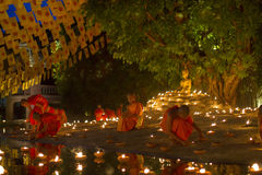CHIANG MAI, THAILAND - MAY 20: Thai Buddhist monks meditate with Royalty Free Stock Photos
