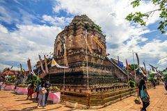 Chiang Mai, Thailand-May 27,2017: Tourists visit worship Inthakhin pillar tradition at Wat Chedi Luang Varavihara - Buddhist Templ Royalty Free Stock Photos