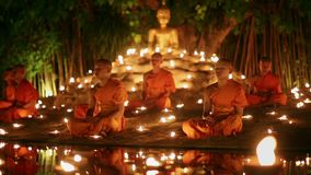 Visakha Bucha Day ,Chiang mai Thailand. Chiang Mai Thailand - May 20 : Visakha Bucha Day is the most important incidents Buddhist day. Buddhist monk light stock footage