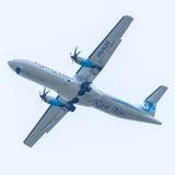 Chiang Mai Thailand - Mei 17: ATR72-500 van Kan Airlines landing Stock Afbeelding