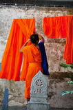Chiang Mai, Thailand: Monk Hanging Laundry Stock Photos