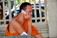 Chiang Mai, Thailand: Monk Using Cellphone Stock Photo