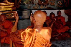 Chiang Mai, Thailand: Monk Using Ipad Royalty Free Stock Photos
