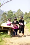 CHIANG MAI, THAILAND - Nov 5 : Portrait of unidentified hill tribe children playing with friend with traditional clothes in her v royalty free stock images