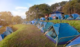 Mon Sone View Point, Doi Pha Hom Pok National Park, Doi Ang Kha. Chiang mai, Thailand - 20 NOV 2017 : Tourists and Campground tents, Mon Sone View Point, Doi Pha stock photos