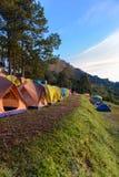 Mon Sone View Point, Doi Pha Hom Pok National Park,  Doi Ang Kha. Chiang mai, Thailand - 20 NOV 2017 : Tourists and Campground tents, Mon Sone View Point, Doi Stock Image