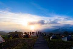 Mon Sone View Point, Doi Pha Hom Pok National Park,  Doi Ang Kha. Chiang mai, Thailand - 20 NOV 2017 : Tourists and Campground tents, Take a Photo at Mon Sone Stock Image