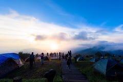 Mon Sone View Point, Doi Pha Hom Pok National Park,  Doi Ang Kha. Chiang mai, Thailand - 20 NOV 2017 : Tourists and Campground tents, Take a Photo at Mon Sone Stock Photos
