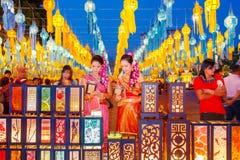 CHIANG MAI THAILAND - NOVEMBER 12, 2008: Färgrik lyktadeco Arkivfoto