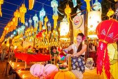 CHIANG MAI THAILAND - NOVEMBER 12, 2008: Färgrik lyktadeco Royaltyfria Foton