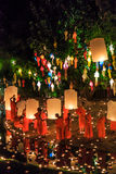 CHIANG MAI THAILAND-NOVEMBER 17 : Loy Krathong festival at Wat Pan Tao Stock Photo