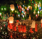 CHIANG MAI THAILAND-NOVEMBER 17 : Loy Krathong festival at Wat Pan Tao Royalty Free Stock Image