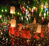 CHIANG MAI THAILAND-NOVEMBER 17 : Loy Krathong festival at Wat Pan Tao Stock Images
