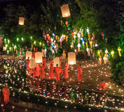 CHIANG MAI THAILAND-NOVEMBER 17 : Loy Krathong festival at Wat Pan Tao Stock Photos