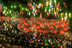 CHIANG MAI THAILAND-NOVEMBER 17 : Loy Krathong festival at Wat Pan Tao Royalty Free Stock Photo