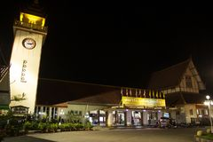 Night shot of Chiangmai Train Station Royalty Free Stock Photos