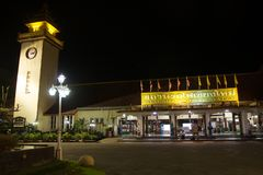 Night shot of Chiangmai Train Station Stock Image