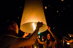 CHIANG MAI THAILAND-OCTOBER 16 : Loy Krathong festival. Unidenti Stock Photo