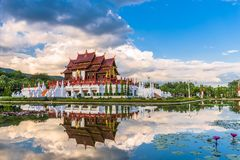 Chiang Mai, Thailand-Park und Pavillon stockbilder