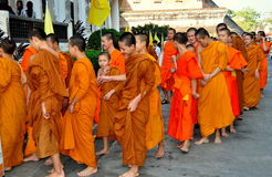 Chiang Mai, Thailand: A Procession of Monks Royalty Free Stock Image